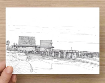 Ink Drawing of Flagler Beach Pier, Florida - Drawing, Art, Architecture, Sketch, Ocean, Wood Structure, Pen and Ink, 5x7, 8x10, Print