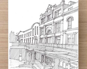Ink Drawing of Factors Walk Buildings and Bridges in Savannah, Georgia - Drawing, Art, Architecture, Sketch, Pen and Ink, 5x7, 8x10, Print