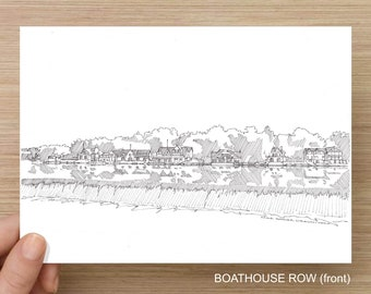 Philadelphia Boathouse Row - Pen and Ink, Art Prints, Drawing, Fairmount Boathouse, Temple Boathouse, Schuylkill River, Rowing, Architecture