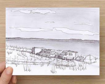 Ink Sketch of Sprinter Vans at Lakeside in Wyoming - Drawing, Art, Pencil, Pen and Ink, Lake, Vanlife, Camping, 5x7, 8x10, Print