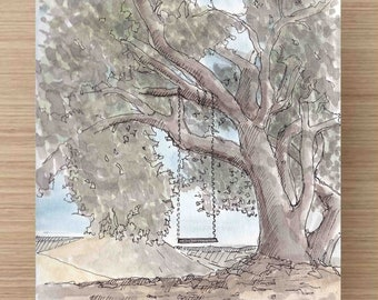 Ink and Watercolor Drawing  of Serenity Swing in Cal Poly Canyon near San Luis Obispo, California - Tree, Painting, Sketch, Art, 5x7, 8x10