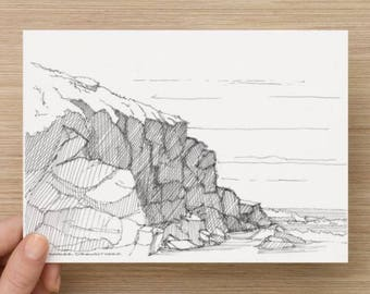 Ink Sketch of Rocky Coast on California Route 101 - Drawing, Art, Landscape, Waves, Ocean, Beach, Pen and Ink, 5x7, 8x10, Print