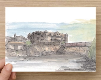 Ink and Watercolor Drawing of Hot Springs Resort in Pagosa Springs, Colorado - Architecture, River, Bridge, Painting, Sketch, Art, 5x7, 8x10