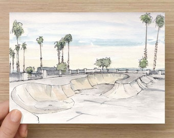 Ink and Watercolor Drawing of the Santa Barbara Skate Park - Skateboard, Concrete Bowl, Sunset, Beach, Painting, Sketch, Art, 5x7, 8x10