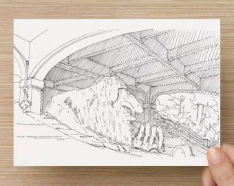 Ink Sketch of the Fremont Troll in Seattle, Washington - Drawing, Sculpture, Folk Art, Volkswagen Beetle, Bridge, Pen and Ink, 5x7, 8x10