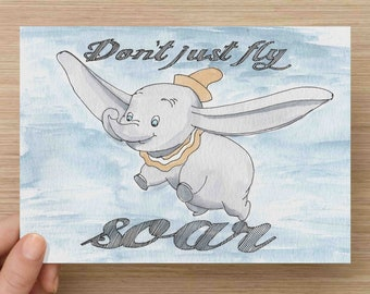 Ink+Watercolor Painting of Dumbo - Don't Just Fly Soar, Baby, Nursery, Disney, Ink Drawing, Sketch, Watercolor, Art, Pen and Ink, 5x7, 8x10