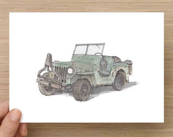 Pen and Ink and Watercolor Painting of 1949 Willys Jeep - Classic Car, Army Vehicle, WWII, World War Two, WW2, 4x4, Drawing, Art