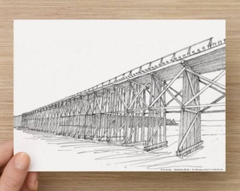 Ink Sketch of Train Trestle on the beach near Fort Bragg, California - Drawing, Art, Beach, Pacific Coast, Pen and Ink, 5x7, 8x10