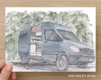 SPRINTER VANS - Ink and Watercolor drawings, Sprinter, Camper Van, Vanlife, Converted Van, Custom Van, Pen and Ink, Art Print, Sketch