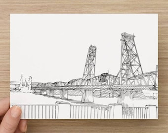 Ink Sketch of Hawthorne Bridge in Portland, Oregon - Drawing, Art, Steel, Engineering, Draw Bridge, River, Pen and Ink, 5x7, 8x10, Print