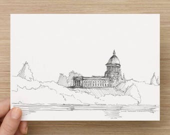 Ink Sketch of Washington Capitol Building in Olympia, Washington - Drawing, Art, Dome, Lake, Architecture, Classical, Pen and Ink, 5x7, 8x10
