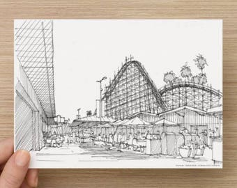 Ink Sketch of Santa Cruz Boardwalk and Rollercoaster, California - Drawing, Art, Amusement Park, Wood Rollercoaster, Architecture, 5x7, 8x10