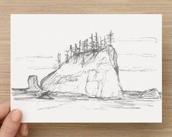 Pencil Sketch of Seastack near 2nd Beach in Olympic National Park - Drawing, Art, Landscape, Rock, Ocean, Coast, 5x7, 8x10, Print