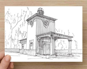Pen and Ink Drawing of Barnsdall Rio Grande Gas Station near Ellwood, California - WWII History, Architecture, Sketch, Art, 5x7, 8x10