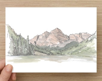 Ink and Watercolor Drawing of Maroon Bells Mountains near Aspen, Colorado - Landscape, Lake, Sketchhbook, Painting, Sketch, Art, 5x7, 8x10