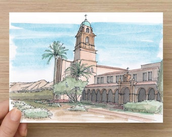 Ink and Watercolor Drawing of Bendictine Monastery in Tucson Arizona - Architecture, Catholic Church, Mission, Art, Pen and Ink, 5x7, 8x10