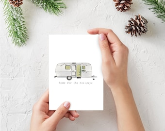 Holiday Greeting Cards - Vanlife Collection, Blank Inside, Folded, Home For The Holidays, Airstream, Vanagon, Sprinter, Westfalia, Camper