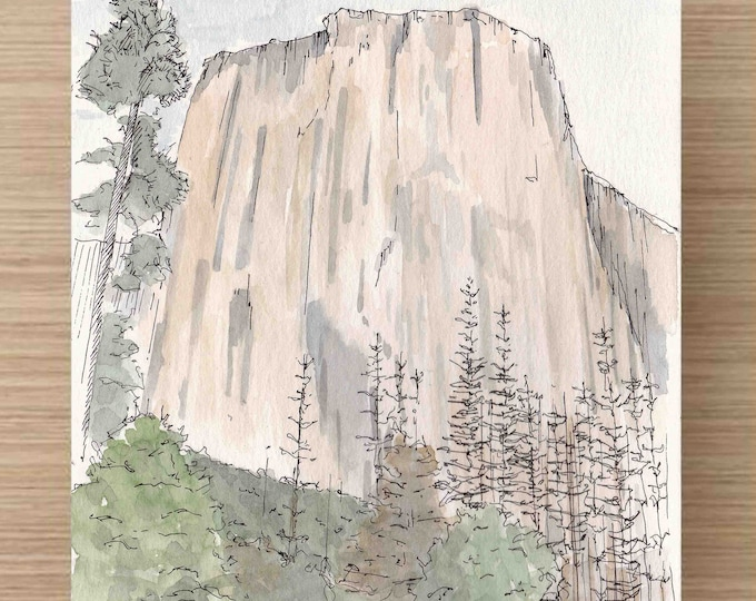 Featured listing image: Watercolor Painting of El Capitan in Yosemite National Park - California, Ink Drawing, Sketch, Watercolor, Art, Pen and Ink, 5x7, 8x10