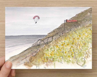 Pen and Ink and Watercolor Painting of Paraglider at Mussel Rock, California - San Francisco, Ocean, Cliff, Flowers, Flight, Drawing, Art