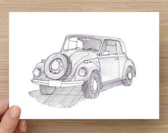 Ink Sketch of 1971 Super Beetle - Drawing, Art, Pen and Ink, Pencil, Volkswagen, Classic Car, Soft Top, 5x7, 8x10, Print