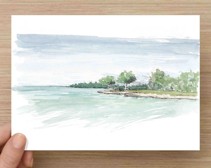 Featured listing image: Watercolor Painting of Blue Water and Caribbean Island - Beach, Jamaica, Ocean, Ink Drawing, Sketch, Watercolor, Art, Pen and Ink, 5x7, 8x10