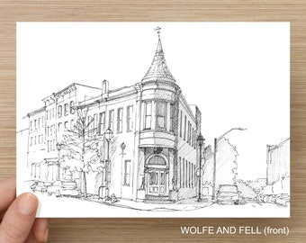Baltimore, Maryland Fells Point Neighborhood - Pen and Ink, Art Prints, Drawing, Wolfe and Fell, Max's Tavern, Admirals Cup, Art Gallery