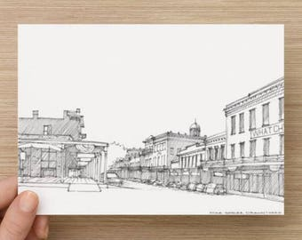 Ink Sketch of Old Sacramento Street - California, Drawing, Art, Architecture, Pen and Ink, 5x7, 8x10, Print