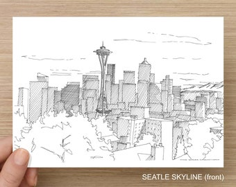 SEATTLE, WASHINGTON - Pen and Ink, Art Prints, Drawing, Sketch, Space Needle, Discovery Point, Architecture, Fremont Troll, Black and White