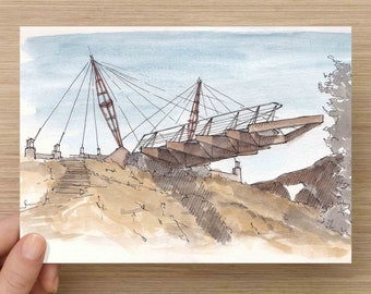 Ink and Watercolor Drawing  of Suspended Bridge at the Architecture Graveyard in Cal Poly Canyon - Painting, Sketch, Art, 5x7, 8x10