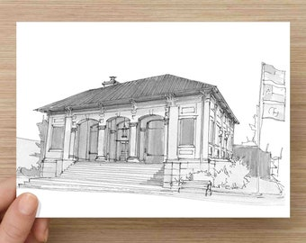 Pen and Ink Drawing of Historic Old Post Office Building in McKinney, Texas - Architecture, Plein Air, Sketch, Art, Pen and Ink, 5x7, 8x10