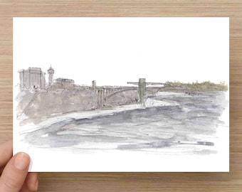 Pen and Ink and Watercolor Painting of Niagra Falls - Waterfall, American Falls, River, New York, Canada, Natural Wonder, Drawing, Art