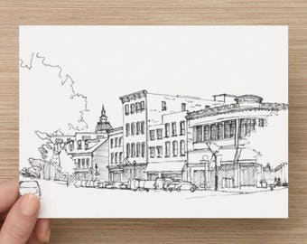 Ink sketch of downtown Annapolis, Maryland - Drawing, Art, Main Street, Architecture, Buildings, Chesapeake Bay, Pen and Ink, 5x7, 8x10