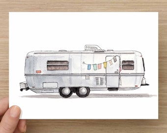 Ink and Watercolor Drawing of Vintage RV Airstream Trailer - Camper, Prayer Flags, Camping, Road Trip, Painting, Sketch, Art, 5x7, 8x10