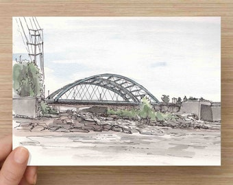 Ink and Watercolor Drawing of Confluence Park in Denver, Colorado - Riverfront, Bridge, Urban Planning, Painting, Sketch, Art, 5x7, 8x10