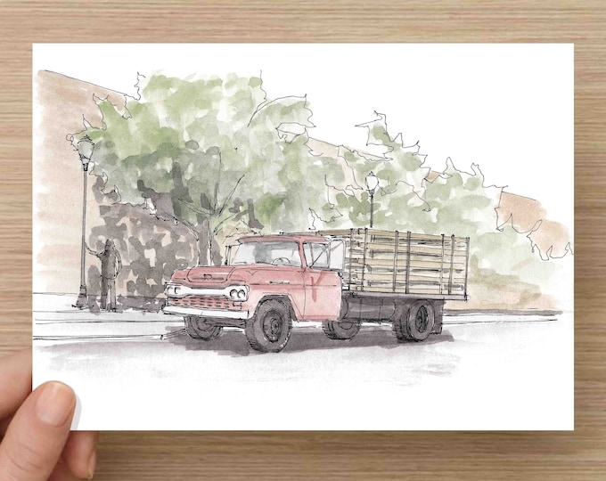 Featured listing image: Watercolor Painting of Corner in Winslow, Arizona - Eagles, Take It Easy, Ink Drawing, Sketch, Watercolor, Art, Pen and Ink, 5x7, 8x10
