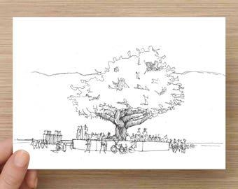 Tree of Tenere Art Installation - Ink Sketch, Art, 5x7 Print, Pen and Ink, LED Art, Sculpture, Oak Tree, Drawing, 5x7, 8x10, Print