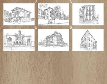CHARLESTON, SOUTH CAROLINA - Pen and Ink, Art Prints, Drawing, City Market, Calhoun Mansion, Old Exchange, Wentworth, Heyward Washington