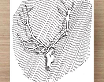 Pen and Ink Drawing of Elk Skull and Antlers - Hunting, Rack, Mounted, Ink Drawing, Sketch, Watercolor, Art, Pen and Ink, 5x7, 8x10