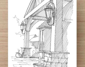 Pen and Ink Drawing of Timber Beam Porch in with Vintage Lights - Art, Ink Drawing, Sketch, Watercolor, Art, Pen and Ink, 5x7, 8x10