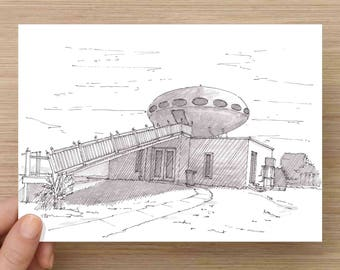 Ink Drawing of Futuro House near Pensacola, Florida - Sketch, Art, Pen and Ink, 5x7, 8x10, Print, Modern, Design, Architecture, UFO, Modular