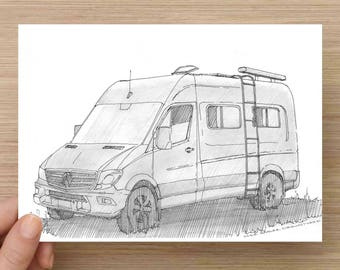 Ink And Pencil Sketch Of S0weboughtavan Sprinter Camper Van