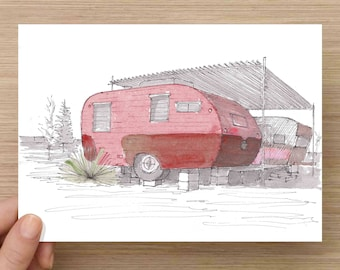 Pink Vintage RV at El Cosmico in Marfa, Texas - Campground, West Texas, Ink Drawing, Sketch, Watercolor, Art, Pen and Ink, 5x7, 8x10