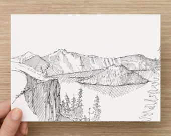 Ink Sketch of Crater Lake National Park in Oregon - Drawing, Art, Landscape, Volcano, Island, Trees, Pen and Ink 5x7, 8x10, Print