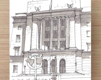 Pen and Ink Drawing of Texarkana Post Office - Architecture, Texas, Arkansas, State Line, Sketch, Watercolor, Art, Pen and Ink, 5x7, 8x10