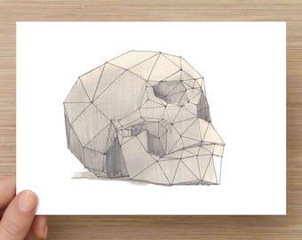 Ink Sketch of 3D Skull Sculpture - Art, Drawing, Pen and Ink, Head, Death, Man, Sculpture, 5x7, 8x10, Print