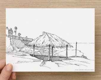 Ink Sketch of Wind And Sea Beach in La Jolla, California - Drawing, Art, Coast, Rocks, Ocean, Surf, Waves, Pen and Ink, 5x7, 8x10, Print