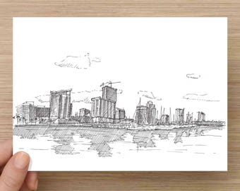 Ink Drawing of St. Petersburg Skyline - Architecture, Downtown, Water, Reflection, Harbor, Sketch, 5x7 Print, Art, Illustration, Pen and Ink