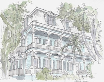 Ink and Watercolor Drawing of House in Key West, Florida - Porch, Architecture, Sketch, Painting, 5x7 Print, Art, Illustration, Pen and Ink