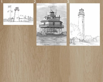 EAST COAST LIGHTHOUSES - Pen and Ink, Art Prints, Drawing, Chatham Point, Thomas Point, Cape May, Architecture, Chesapeake Bay, Cape Cod