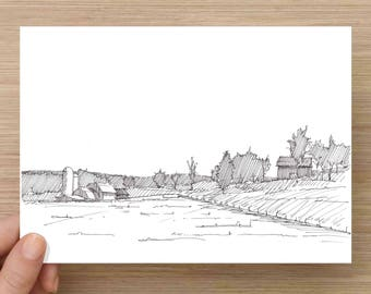 Ink Drawing of Sunset Pennsylvania Farm - Rural, Landscape, Ink Drawing, Sketch, 5x7 Print, Art, Drawing, Illustration, Pen and Ink